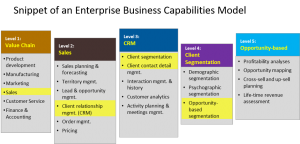 CRM capabilities - snippet of enterprise capabilities