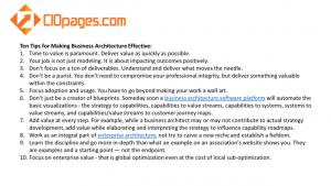 Effective Business Architecture - Top Ten Tips